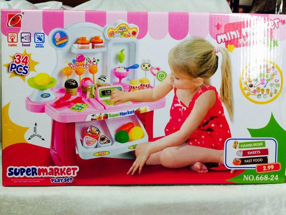 ร้านไอติมเล๊ก อุปกรณ์34ชิ้น. มีเสียง มีไฟ สีชมพู และสีแดง