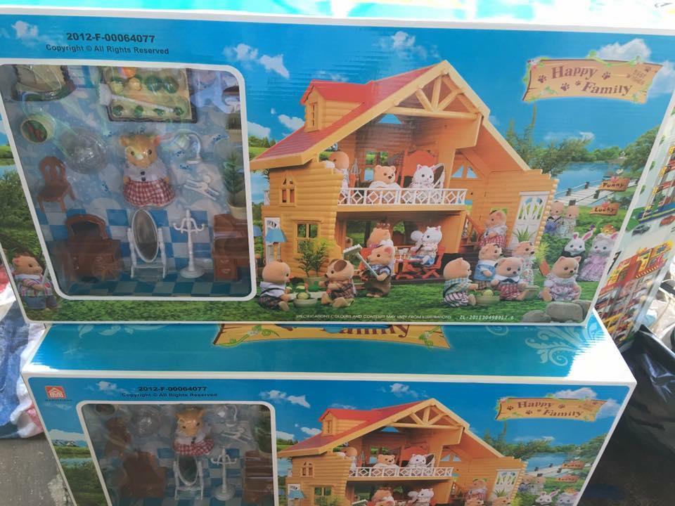ของเล่นบ้านตุ๊กตาสัตว์ บ้านแสนสุข 2 ชั้น บ้านกระต่าย พร้อมเฟอร์นิเจอร์