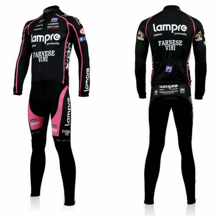 ชุดปั่นจักรยานแขนยาวลายทีม LAMPRE Y32 กางเกงเป้าเจล 20D