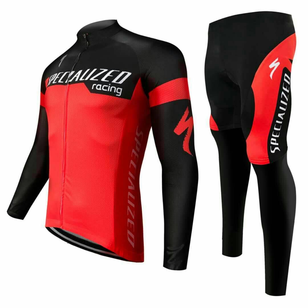 ชุดปั่นจักรยานแขนยาวลายทีม SPECIALIZE N9 กางเกงเป้าเจล 20D
