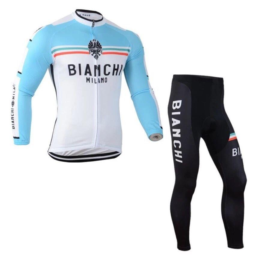 ชุดแขนยาวปั่นจักรยานลายทีม BIANCHI Y5 กางเกงเป้าเจล