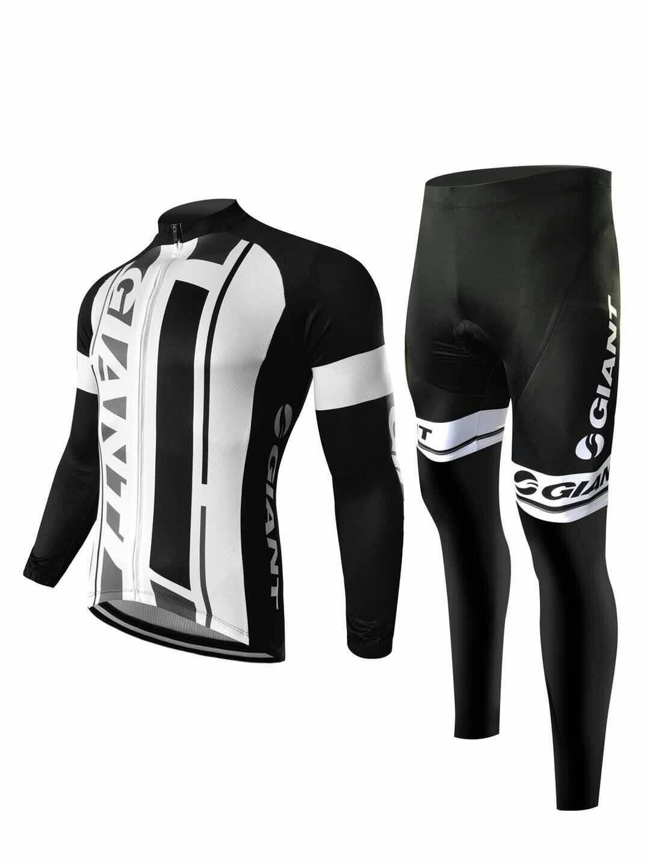 ชุดแขนยาวปั่นจักรยานลายทีม GIANT กางเกงเป้าเจล 20 D