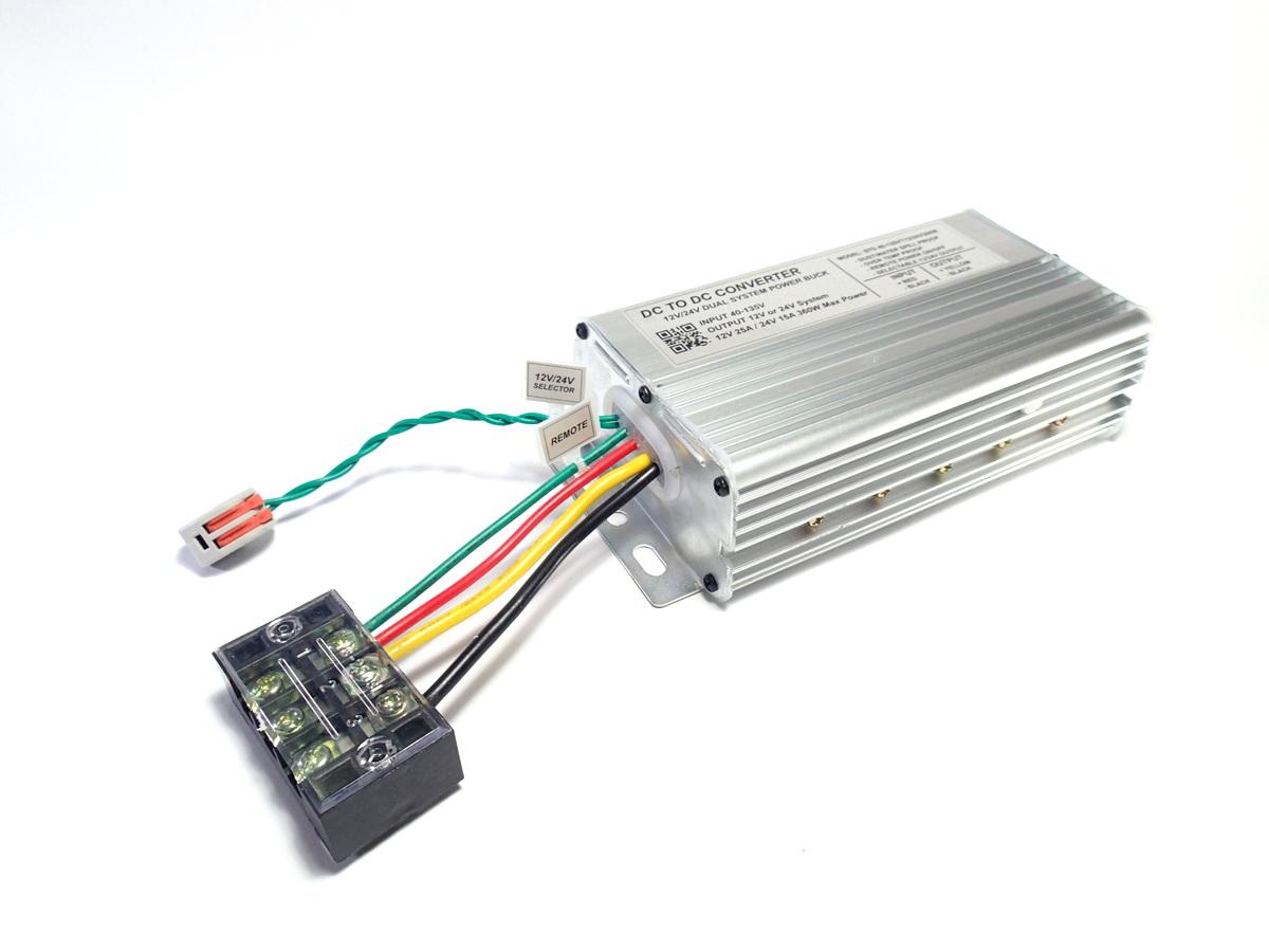 DC Step-Down 40-120V to 12V/24V Dual System 25A/15A 300W