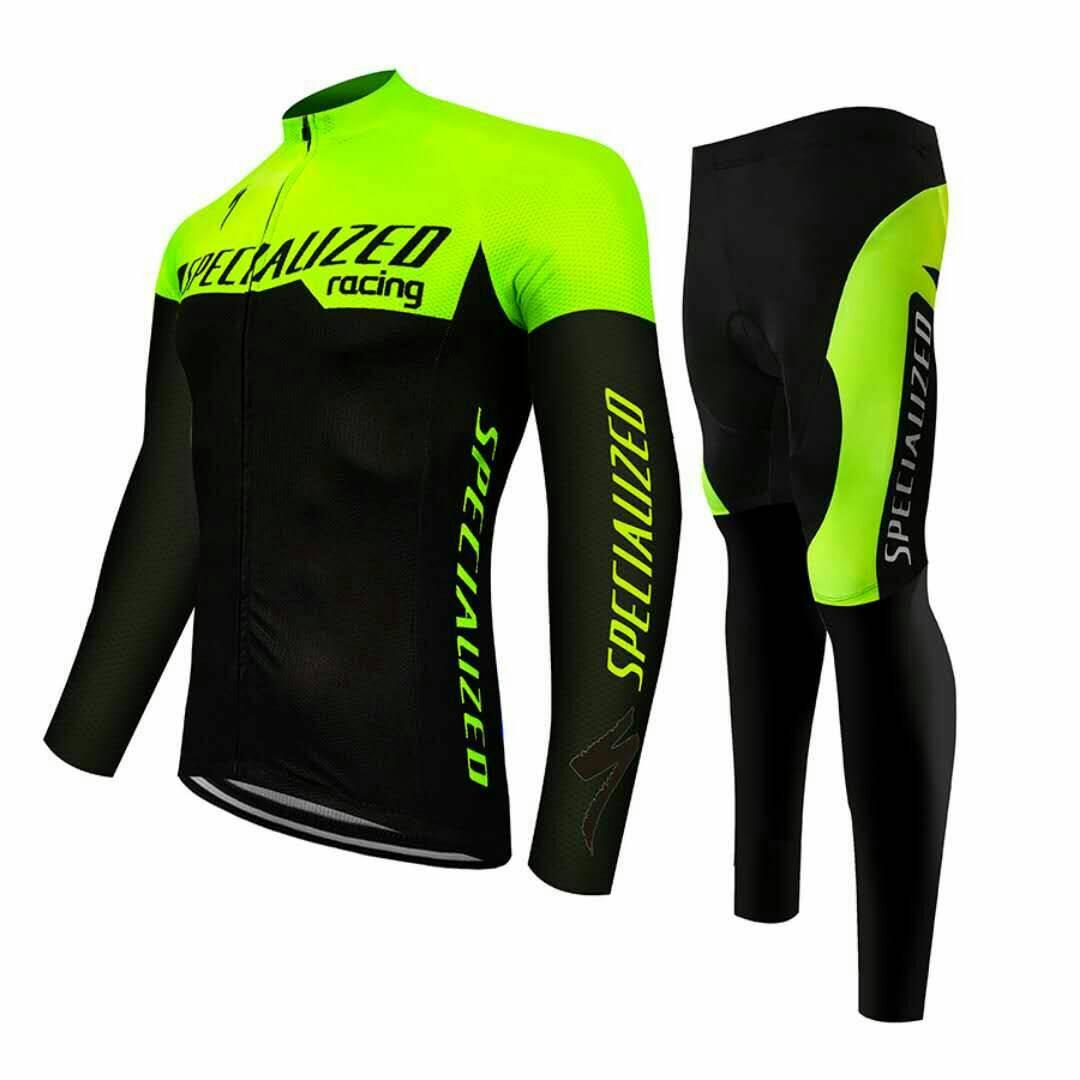ชุดปั่นจักรยานแขนยาวลายทีม SPECIALIZE NG9 กางเกงเป้าเจล 20D