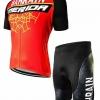 ชุดปั่นจักรยานแขนสั้นลายทีม MERIDA S64 กางเกงเป้าเจล
