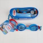 แว่นว่ายน้ำสำหรับเด็กลายThomas สายซิลิโคนปรับขนาดได้ พร้อมที่อุดหู