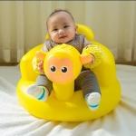 เก้าอี้หัดนั่งเป่าลมลายลิง บีบที่หูมีเสียงปิ๊บๆ สีเหลือง
