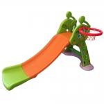 สไลเดอร์ พร้อมแป้นบาสและลูกบาส สไลเดอร์ยีราฟ สีส้มเขียว