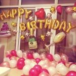 """ลูกโป่ง""""HAPPY BIRTHDAY"""" ฟอยล์ตัวอักษร สีชมพู"""