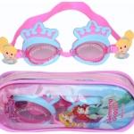 แว่นว่ายน้ำสำหรับเด็กลาย Princess สายซิลิโคนปรับขนาดได้ พร้อมที่อุดหู