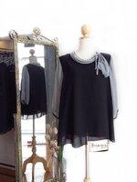 Chiffon Tie Blouse Size 44 สีดำ