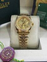 นาฬิกา Rolex DateJust Lady งานเกรด Mirror สายจูบิรี่ หน้าปัดสีทอง ฝังเพชร รุ่นดังหรู มีระดับ