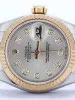 นาฬิกา Rolex DateJust Rose Gold งานเกรด Mirror สายจูบิรี่ หน้าปัดสีขาวฝังเพชร สายสีทองสลับเงิน