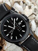 นาฬิกา Overfly eyki แท้ 100% Day Dat หน้าปัดสีดำล้วน สายหนังแท้ รุ่นใหม่ล่าสุด ขายดีอันดับ 1